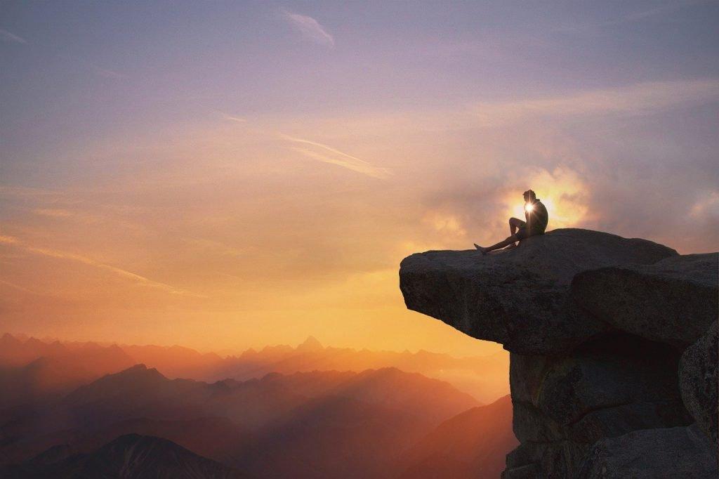 mountains, man, cliff